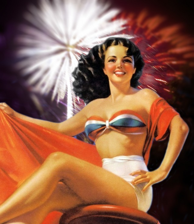 A vintage pin up in patriotic boustier with fireworks in the background